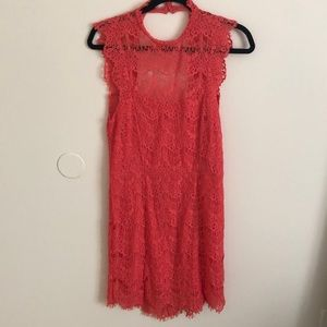 NWT Coral Lace Free People Illusion Neck Dress